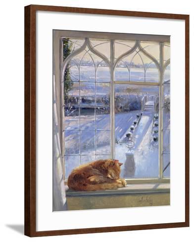 Sundial and Cat-Timothy Easton-Framed Art Print