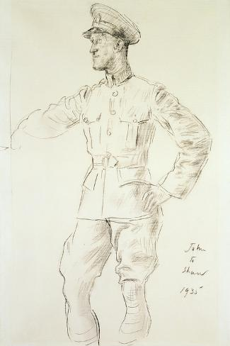 Portrait of Aircraftman T.E. Shaw, 1935-Augustus Edwin John-Stretched Canvas Print