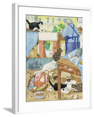 Grandma and 10 Cats in the Kitchen-Linda Benton-Framed Art Print