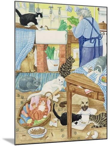 Grandma and 10 Cats in the Kitchen-Linda Benton-Mounted Giclee Print