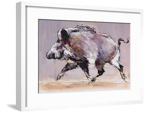 Running Boar, 1999-Mark Adlington-Framed Art Print