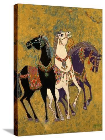 3 Horses, 1975-Laila Shawa-Stretched Canvas Print