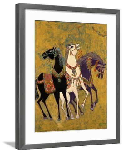 3 Horses, 1975-Laila Shawa-Framed Art Print