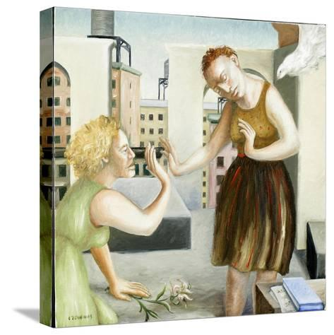 Rooftop Annunciation, 1 (Two Women) 2006-Caroline Jennings-Stretched Canvas Print