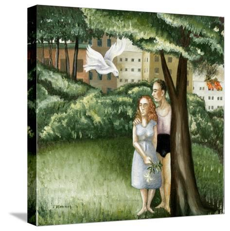 Annunciation with Burning Building, 2006-Caroline Jennings-Stretched Canvas Print