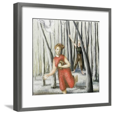 Winter Annunciation with Running Woman in Red, 2006-Caroline Jennings-Framed Art Print