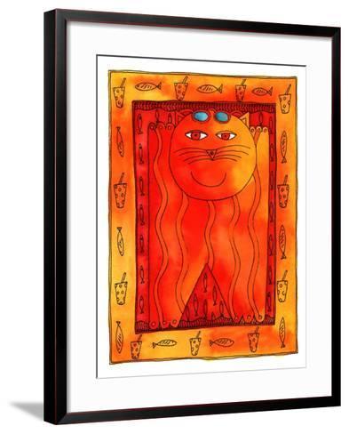 Sunbathing Cat, 1999-Julie Nicholls-Framed Art Print
