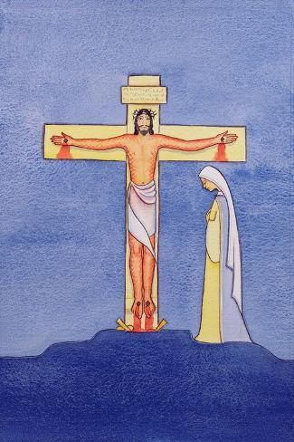 Mary Stands by the Cross as Jesus Offers His Life in Sacrifice, 2005-Elizabeth Wang-Stretched Canvas Print