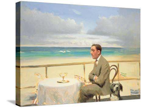 Porthmeor Man and Dog-Alan Kingsbury-Stretched Canvas Print
