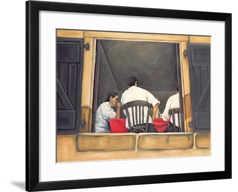 Chef and Waiters Having Service Lunch, 1999-Peter Breeden-Framed Art Print
