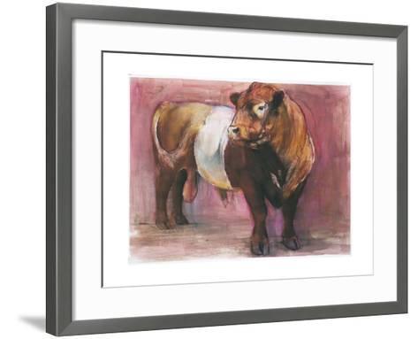 Zeus, Red Belted Galloway Bull, 2006-Mark Adlington-Framed Art Print