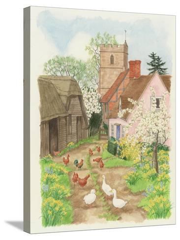 Church and Farm Track, 1998-Linda Benton-Stretched Canvas Print
