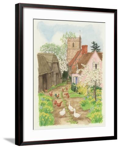 Church and Farm Track, 1998-Linda Benton-Framed Art Print