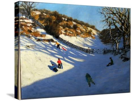 Snow in the Valley, Near Monyash, Derbyshire-Andrew Macara-Stretched Canvas Print