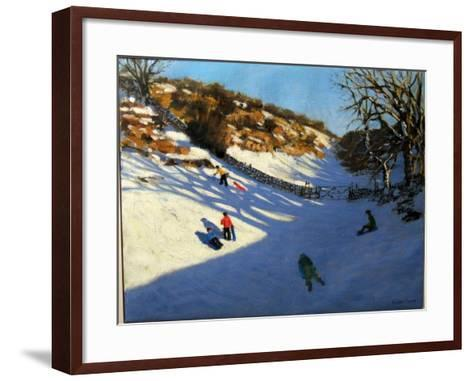 Snow in the Valley, Near Monyash, Derbyshire-Andrew Macara-Framed Art Print