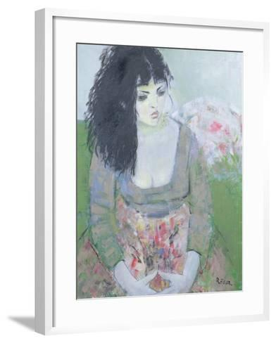 Indian Earring (Dark-Haired Girl in Green)-Endre Roder-Framed Art Print