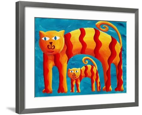 Curved Cats, 2004-Julie Nicholls-Framed Art Print