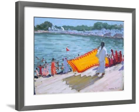 Drying Sari, Pushkar-Andrew Macara-Framed Art Print
