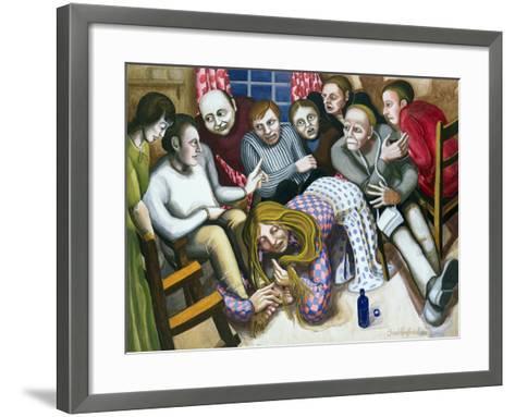 Mary Anointing Jesus' Feet, 1998-Dinah Roe Kendall-Framed Art Print