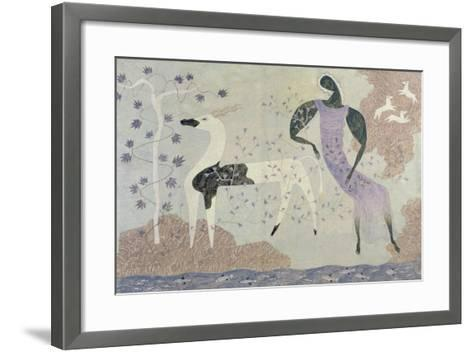 Antelope and Figure in a Landscape, 1936-John Armstrong-Framed Art Print