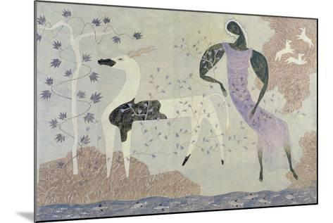 Antelope and Figure in a Landscape, 1936-John Armstrong-Mounted Giclee Print