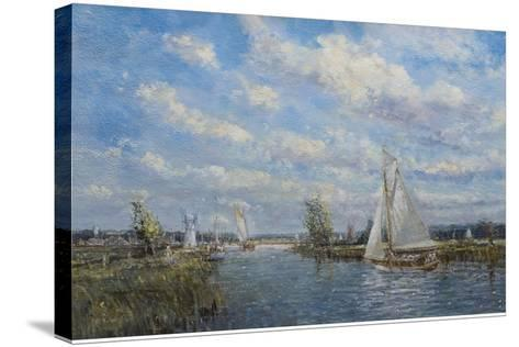 Yachts on the River Ant - Norfolk Broads, 2008-John Sutton-Stretched Canvas Print