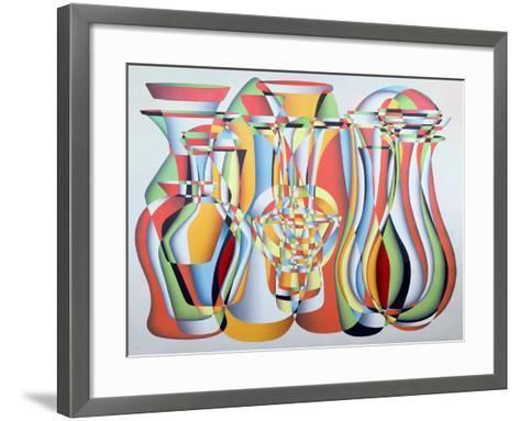 Luxate Vessel Assemblage, Green, Orange-Brian Irving-Framed Art Print