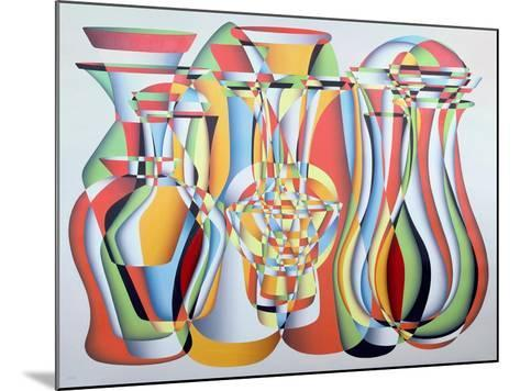 Luxate Vessel Assemblage, Green, Orange-Brian Irving-Mounted Giclee Print