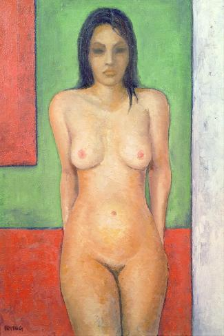 Girl Standing by Abstract, Cobalt Green Vermillion-Brian Irving-Stretched Canvas Print