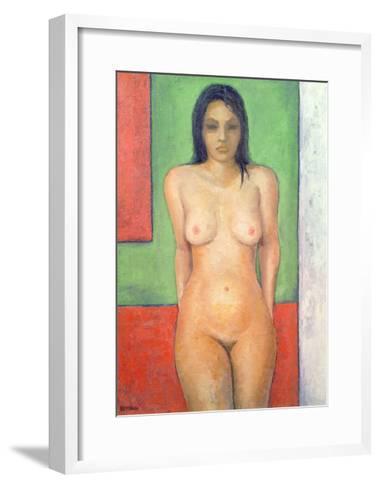 Girl Standing by Abstract, Cobalt Green Vermillion-Brian Irving-Framed Art Print