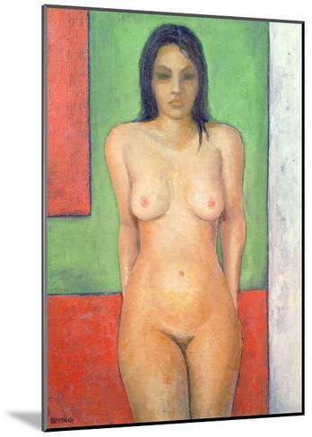 Girl Standing by Abstract, Cobalt Green Vermillion-Brian Irving-Mounted Giclee Print