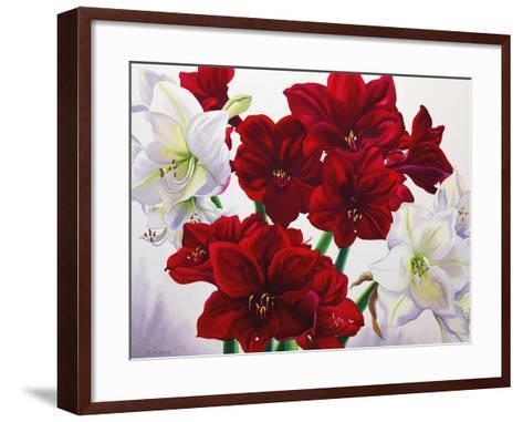 Red and White Amaryllis, 2008-Christopher Ryland-Framed Art Print