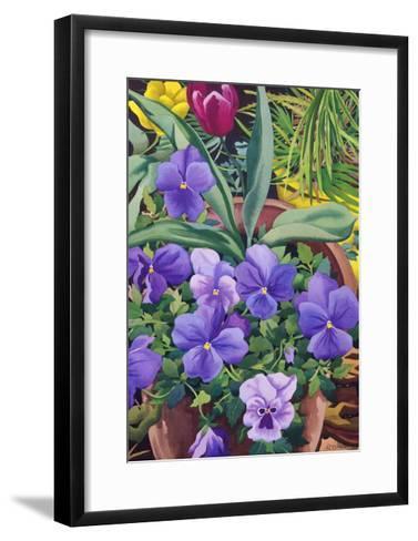 Flowerpots with Pansies, 2007-Christopher Ryland-Framed Art Print
