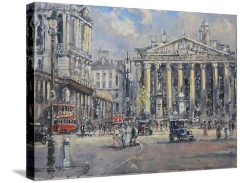 The Bank Crossing, the Royal Exchange and the Bank of England C.1930-John Sutton-Stretched Canvas Print