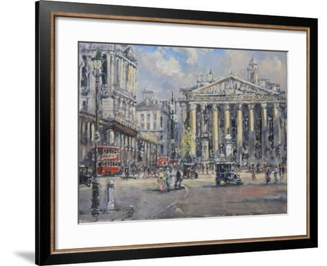 The Bank Crossing, the Royal Exchange and the Bank of England C.1930-John Sutton-Framed Art Print