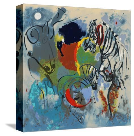 Zebras, 1988-Jane Deakin-Stretched Canvas Print