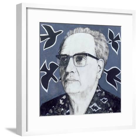 Portrait of Olivier Messiaen, Illustration for 'The Sunday Times', 1970s-Barry Fantoni-Framed Art Print