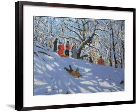 Sledging in Allestree Woods, 2011-Andrew Macara-Framed Art Print