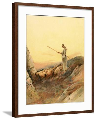 A Shepherd Counting His Sheep-Henry Andrew Harper-Framed Art Print