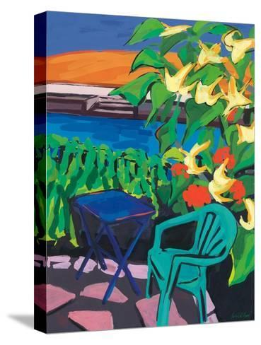 Turquoise Chair and Geranium, 2010-Sarah Gillard-Stretched Canvas Print