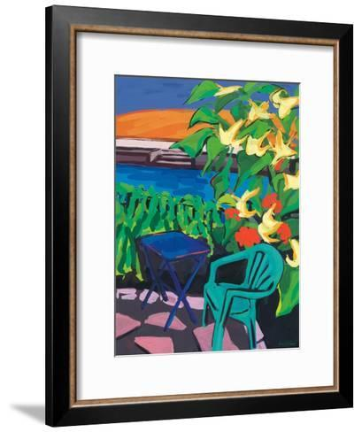 Turquoise Chair and Geranium, 2010-Sarah Gillard-Framed Art Print
