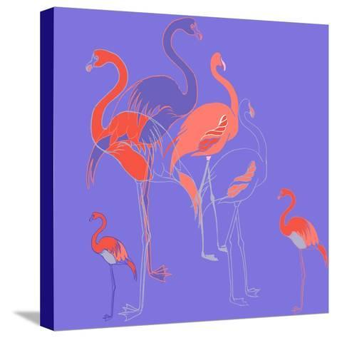 Flamingoes-Anna Platts-Stretched Canvas Print
