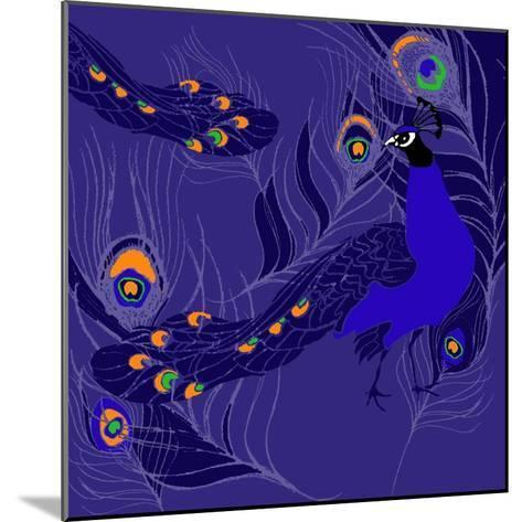 Peacock-Anna Platts-Mounted Giclee Print