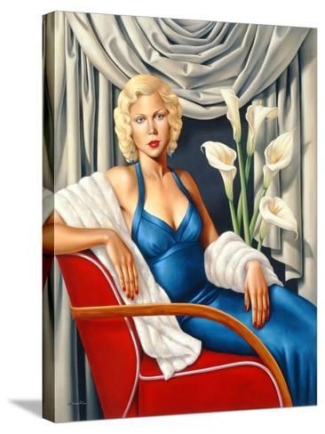Woman in Sapphire Blue Dress-Catherine Abel-Stretched Canvas Print