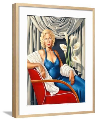 Woman in Sapphire Blue Dress-Catherine Abel-Framed Art Print