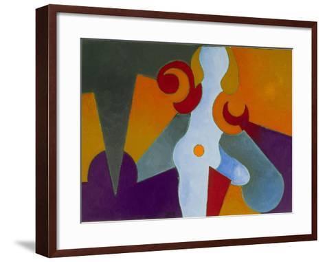 Blue Pin-Up Girl, 2009-Jan Groneberg-Framed Art Print