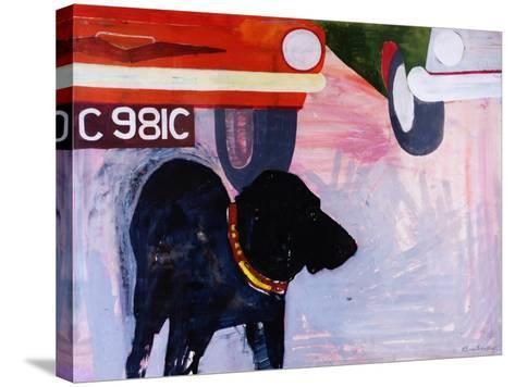 Dog at the Used Car Lot, Rex with Orange Car-Brenda Brin Booker-Stretched Canvas Print