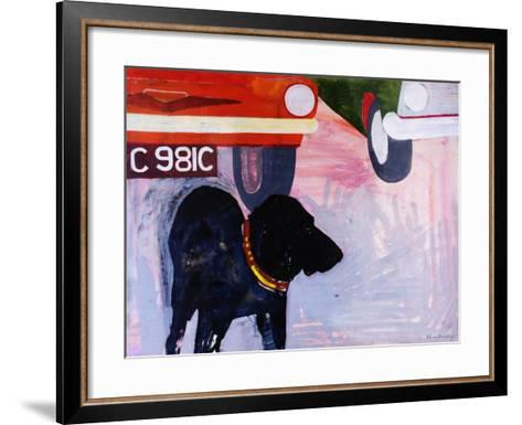 Dog at the Used Car Lot, Rex with Orange Car-Brenda Brin Booker-Framed Art Print