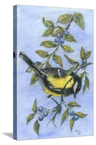 Tit in Blackthorn and Sloe-Nell Hill-Stretched Canvas Print