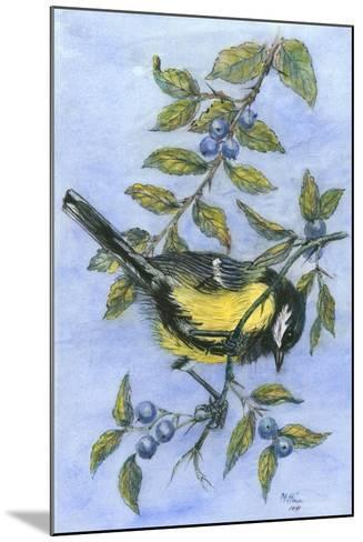 Tit in Blackthorn and Sloe-Nell Hill-Mounted Giclee Print